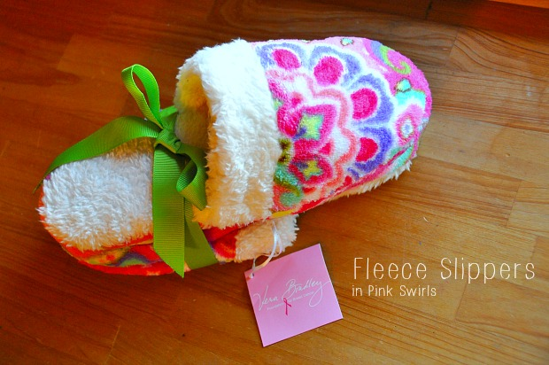 Fleece Slippers in Pink Swirls0837